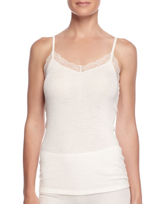 Lace-Trimmed Wool-Blend Camisole, Pale Cream