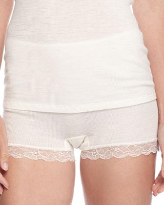 Lace-Trimmed Wool-Blend Camisole & Woolen Lace Boy-Leg Briefs