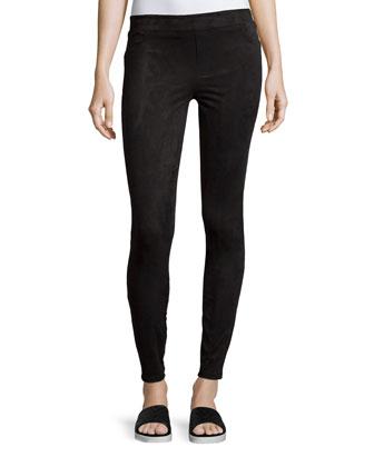 Easily Suede Textured Leggings, Very Black