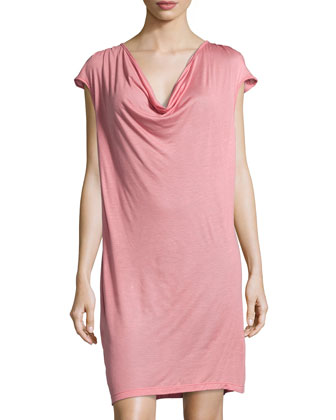 Cocoon Drape-Front Slip Dress, Dusty Rose
