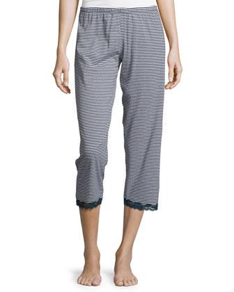 Giulietta Striped Cropped Pajama Pants, Navy Blue/White