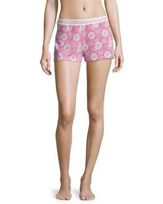 Hortens Pajama Boxer Shorts, Pink Carnation/Ivory