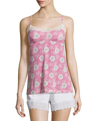 Hortens Lace-Trimmed Camisole, Pink Carnation/Ivory