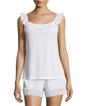 Luna Lace-Trimmed Pajama Camisole, White