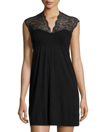 Peacock Short Slip Dress, Black