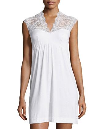 Peacock Short Slip Dress, White