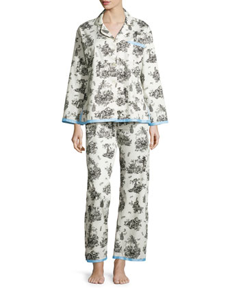 Vintage Toile Classic Sateen Pajama Set, Black/White