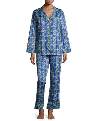 Royal Foulard Printed Sateen Pajama Set, Navy