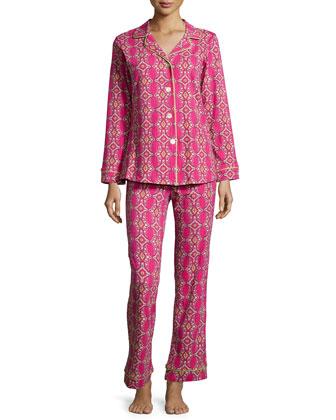 Royal Foulard Printed Knit Pajama Set, Magenta