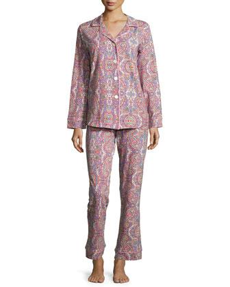 Boho Paisley-Print Classic Pajama Set