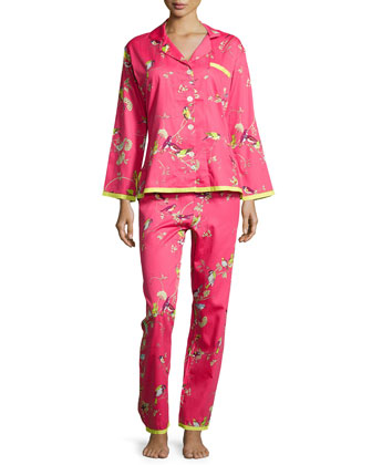 Red Birds & Branches Long-Sleeve Pajama Set