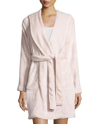 Hooded Shawl Collar Short Robe