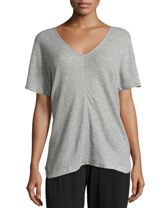 Short-Sleeve V-Neck Lounge Tunic, Heather Gray