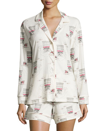 Girl On Scooter Shorty Long-Sleeve Pajama Set