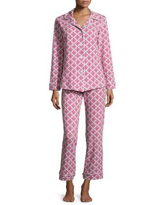 Damask Printed Classic Pajama Set, Pink/Gray