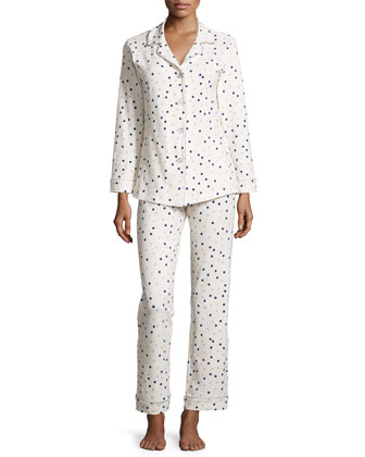 Confetti Dot-Print Classic Pajama Set, Light Blue