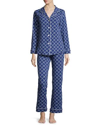 Circle-Print Classic Pajama Set, Navy