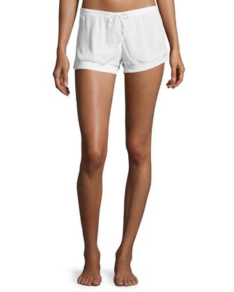 Tonal-Piping Pajama Shorts, White