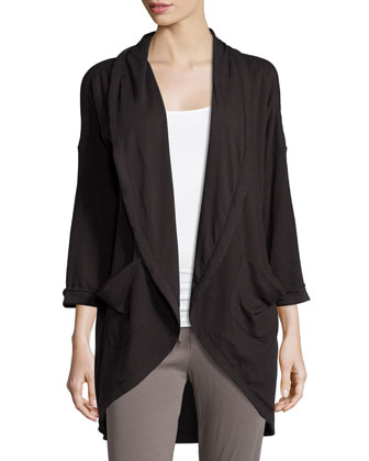 Open-Front Draped Cardigan, Black