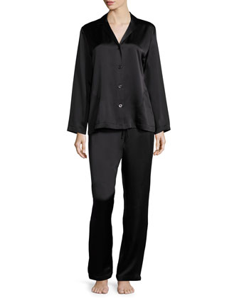 Silk Long-Sleeve Pajama Set, Black