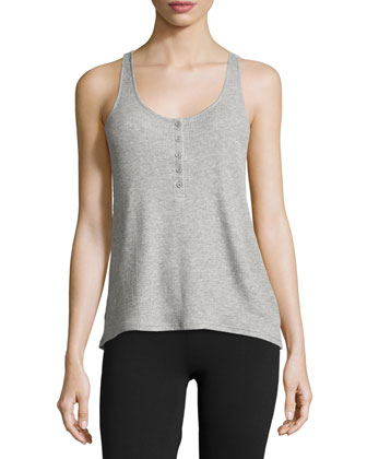 Button-Front Racerback Tank, Heather Gray