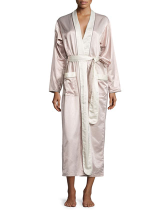 Monte Carlo Satin Long Robe, Blush/Cream