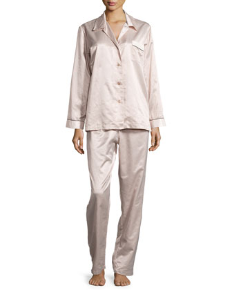 Monaco Piped Long-Sleeve Pajama Set, Blush/Cream