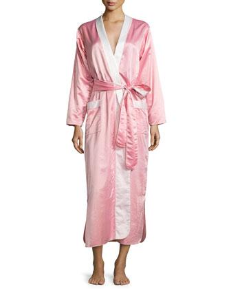 Monte Carlo Satin Long Robe, Coral Pink/Petal
