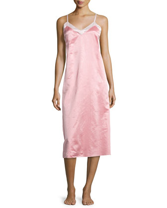 Chelsea Satin Long Gown, Coral Pink/Petal