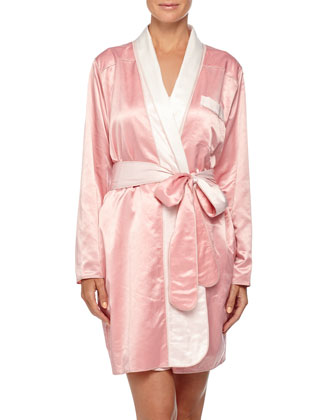Riviera Satin Short Robe, Coral Pink/Petal