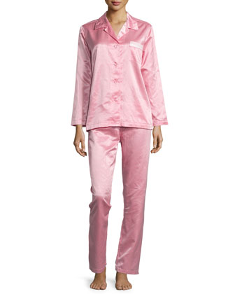 Monaco Satin Two-Piece Pajama Set, Coral Pink/Petal