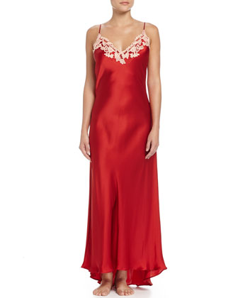 Maison Lace-Trim Long Gown, Red/Gold