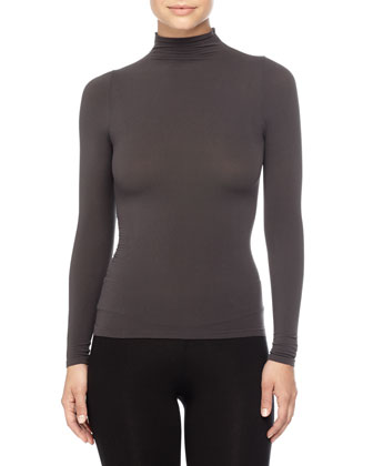 Ballet Body Mock Turtleneck Top, Graphite