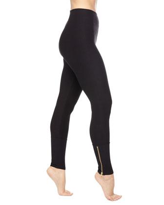 Zipper-Cuffs Control Leggings, Black