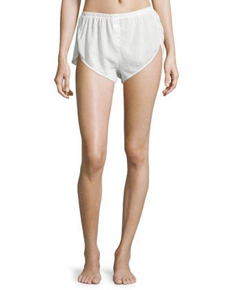 Ribbed-Trim Pajama Shorts, Crane White