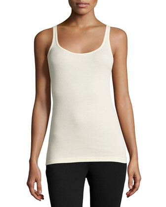 Scoop-Neck Ribbed Tank, Almond Oil