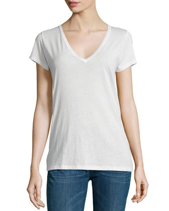 Easy V-Neck Cotton Tee, Powder