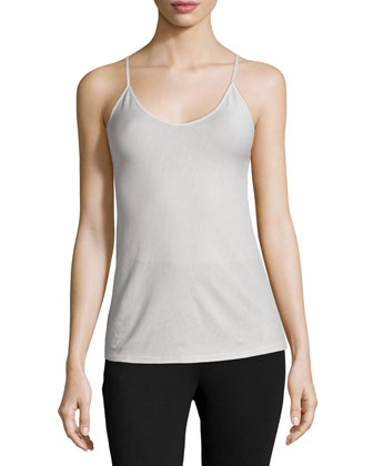 Scoop-Neck Fitted Camisole, Dove Gray