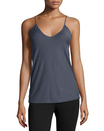 Scoop-Neck Fitted Camisole, Steel Blue