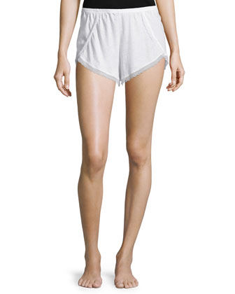 Organic Lace-Trim Tap Shorts, Crane White