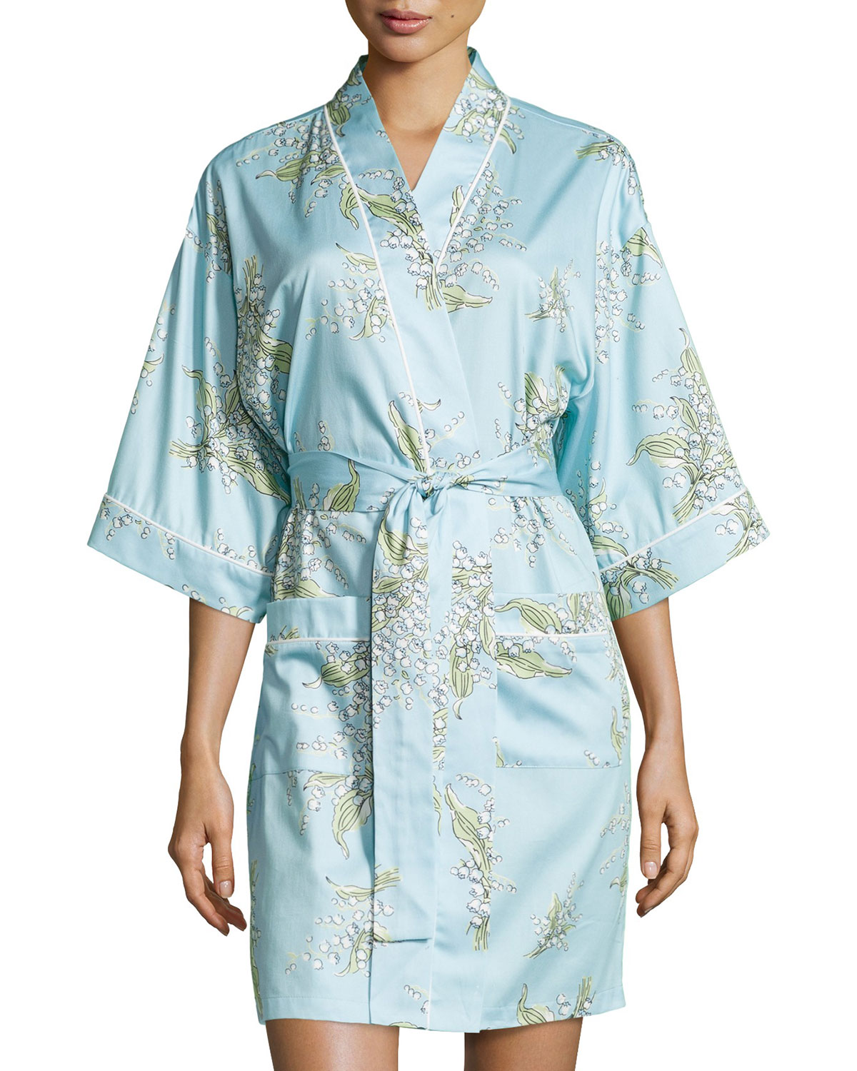 Lily of the Valley 3/4-Sleeve Robe, Turquoise, Size: L (12-14) - Bedhead