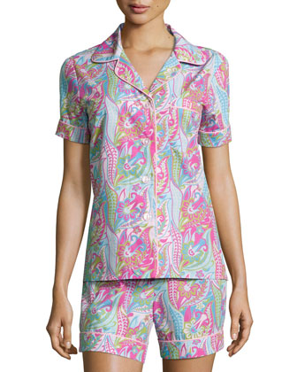 Sergeant Pepper Shorty Pajama Set, Pink/Turquoise