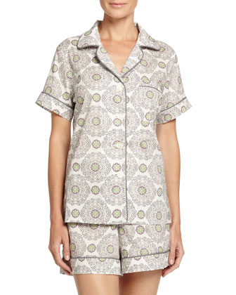 Medallion Shorty Pajama Set, Cream/Pink