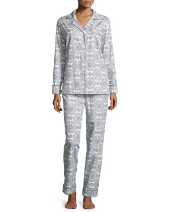 Medallion-Print Long Pajama Set, Cream/Pink, Women's