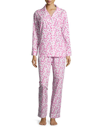 Polka-Dot Long Pajama Set, Pink/White, Women's