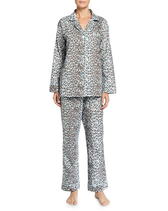 Wild Thing Pajama Set, Gray/Aqua, Women's