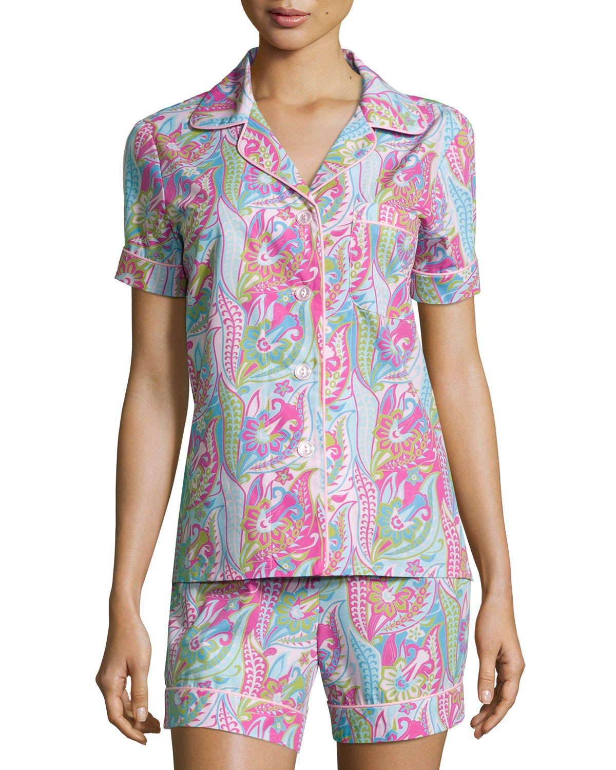 Sergeant Pepper Shorty Pajama Set, Pink/Turquoise, Women's, Size: 1X (16W-18W) - Bedhead
