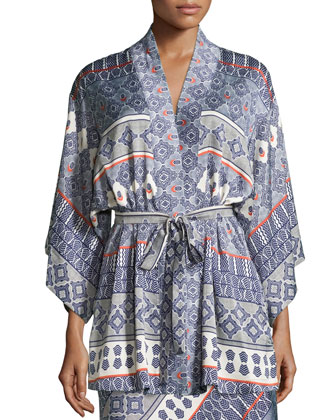 Kapi Printed Short Wrap Robe