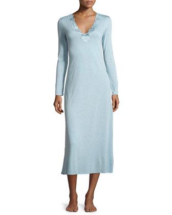 Zen Floral-Trim Long Gown