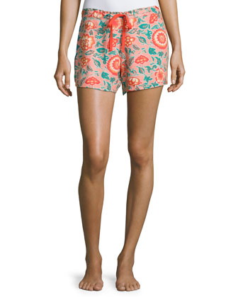 Josie Scoop-Neck Swing Tank & Ceramic Floral Drawstring Shorts